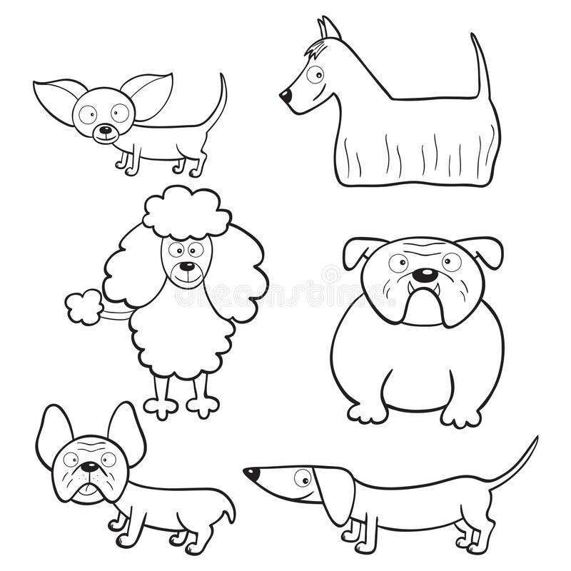 Coloring book with cartoon dogs royalty free illustration