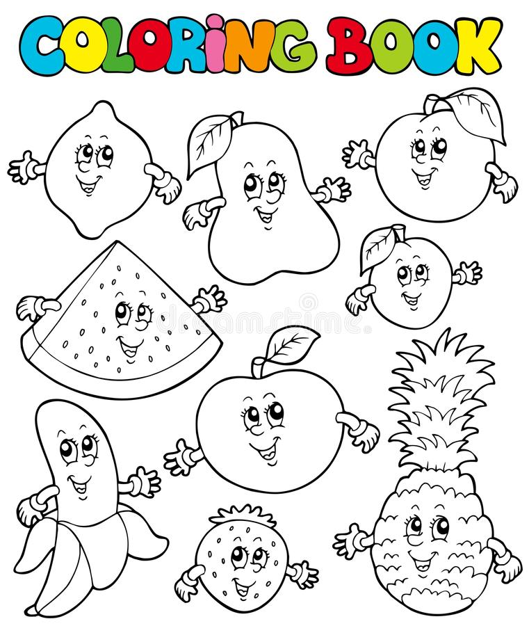Download Coloring Book With Cartoon Fruits 1 Stock Vector - Image: 16483634