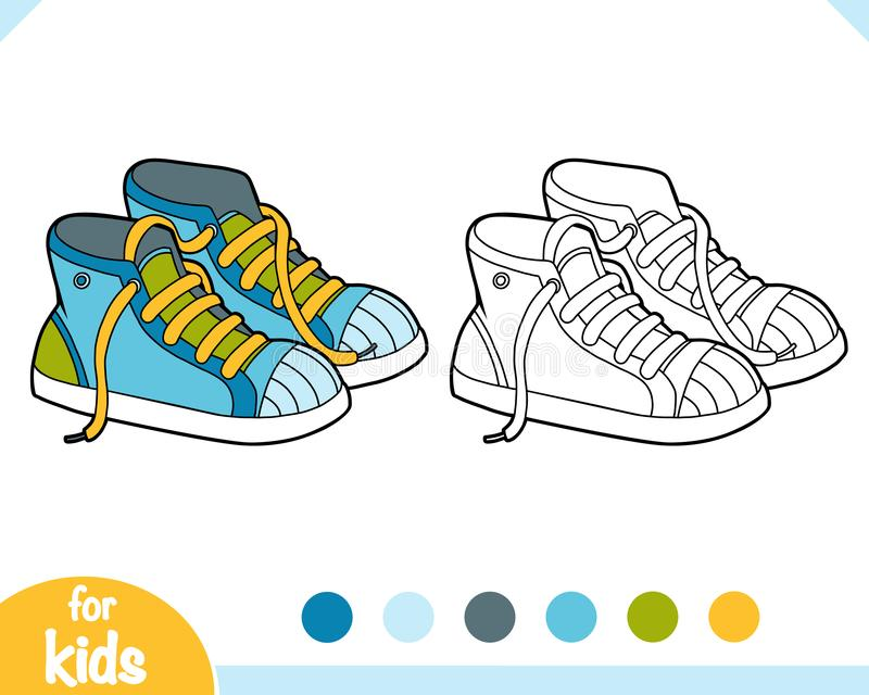 Coloring book, cartoon shoe collection. Sneakers stock illustration
