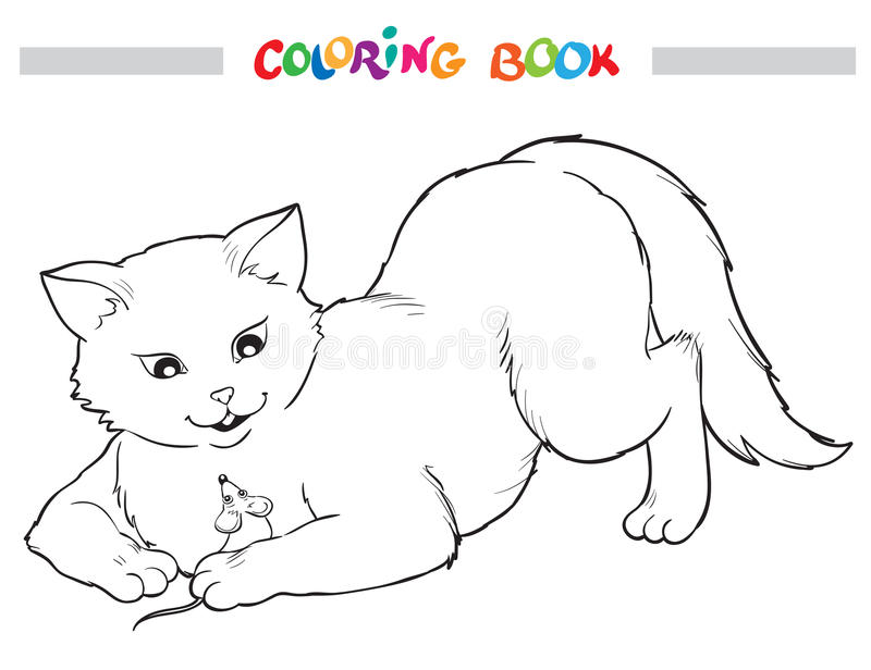 Coloring Book. Cat and mouse. stock illustration