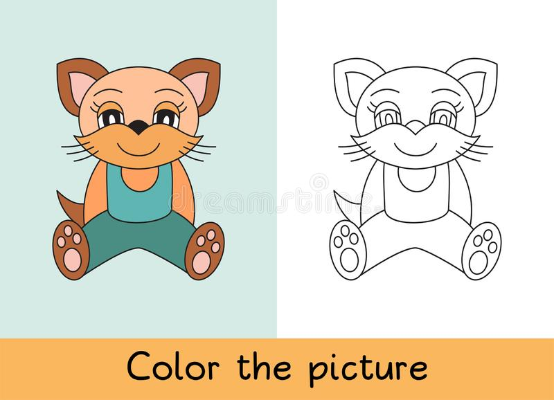 Coloring book. Cat, pet. Cartoon animall. Kids game. Color picture. Learning by playing. Task for children.  stock illustration