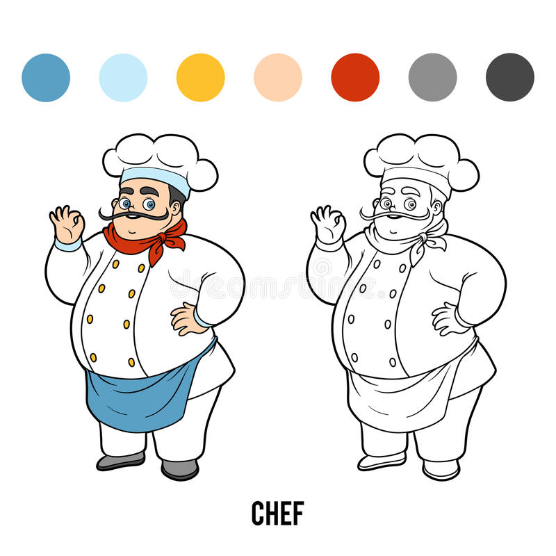 Coloring book, Chef stock illustration