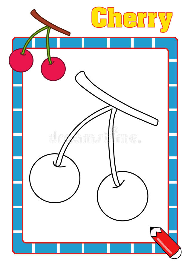 Coloring book, cherry stock image