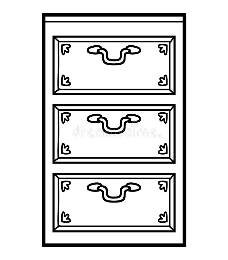 Coloring book, Chest of drawers. Coloring book for children, Chest of drawers vector illustration