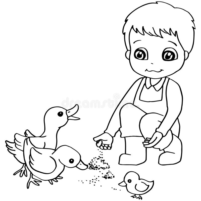 Free Coloring Book Child Feeding Duck Vector Royalty Free Stock Image - 63311846