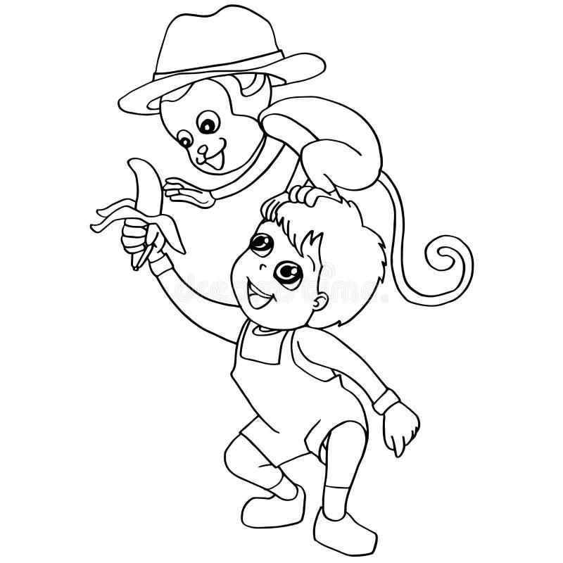 Free Coloring Book Child Feeding Monkey Vector Stock Photo - 63311870