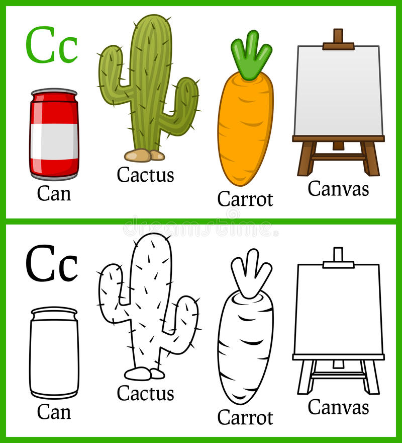 Coloring Book for Children - Alphabet C. Alphabet, letter C. Coloring book for children with cartoon objects: cactus, can, canvas, carrot, isolated on white stock illustration