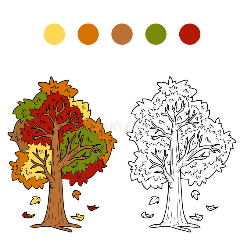 Coloring book for children (autumn tree) royalty free illustration