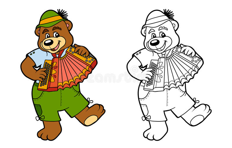 Coloring book for children: bear and accordion. Coloring book for children, education game: bear and accordion vector illustration