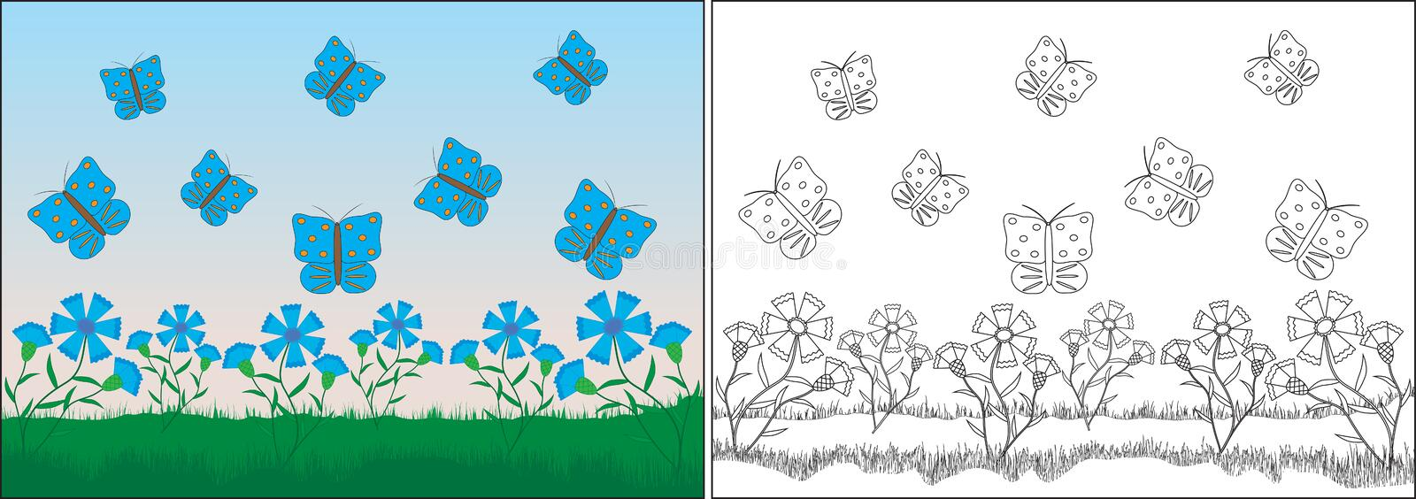 Coloring book for children. Butterflies fly near the flowers vector illustration