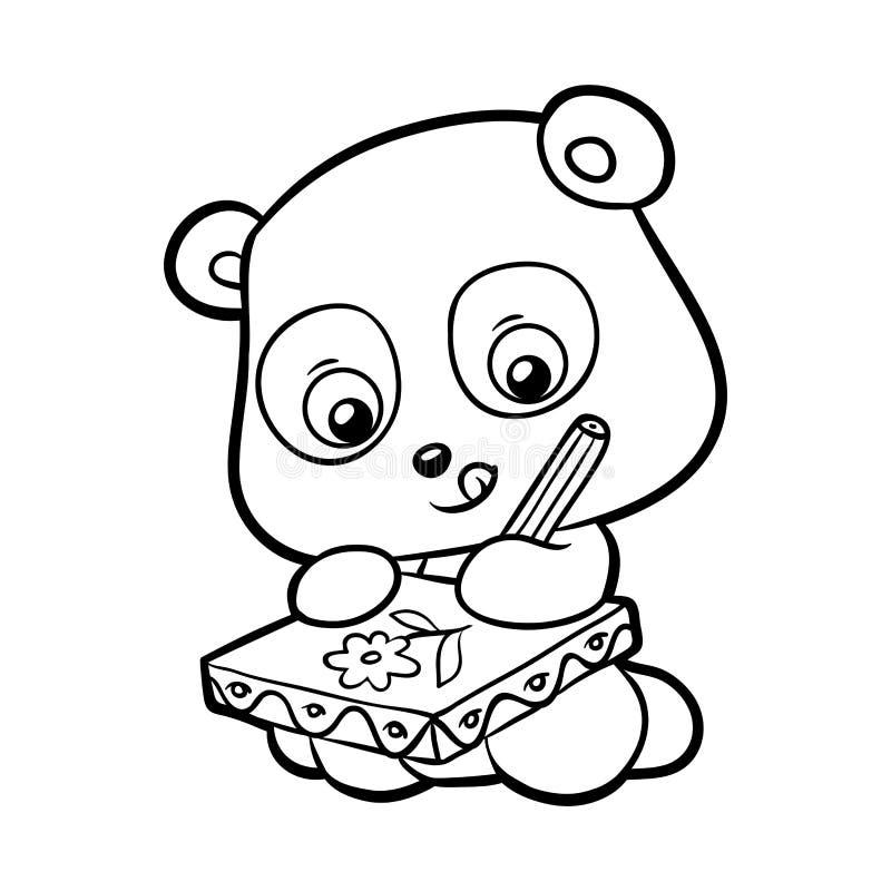 coloring book panda stock vector illustration of black