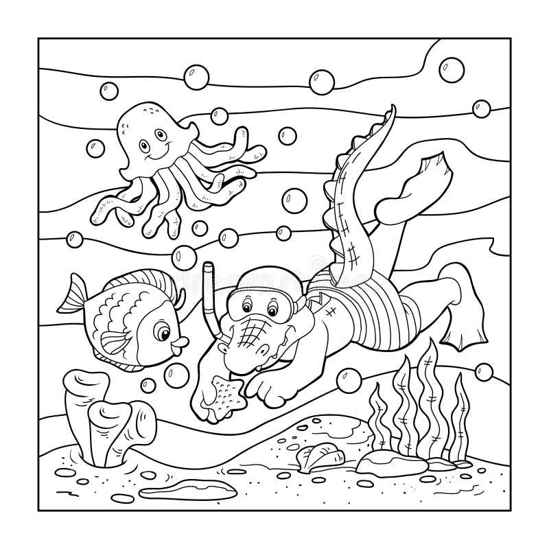 Download Coloring Book For Children Crocodile Diver Ocean Floor Stock Vector