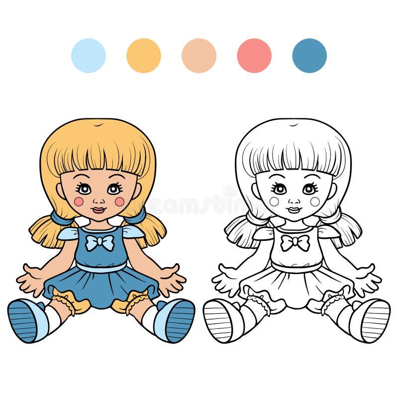 Coloring book for children (doll) stock illustration