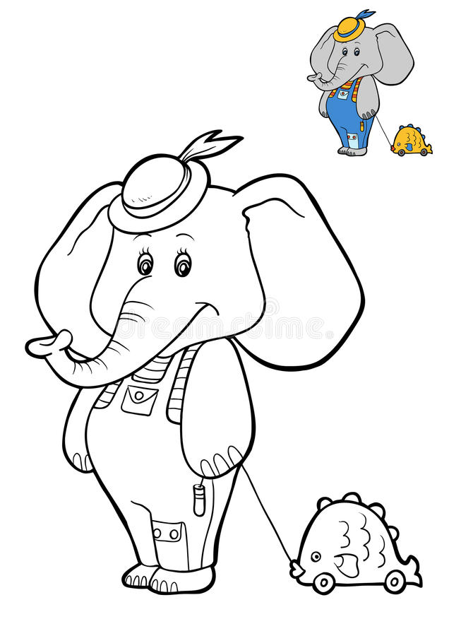 Coloring book for children, Elephant. Coloring book for children, cartoon character Elephant vector illustration