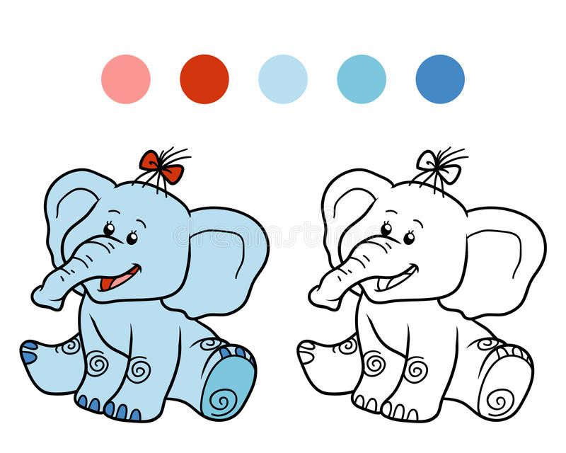Coloring book for children: elephant. Coloring book for children, education game: elephant vector illustration