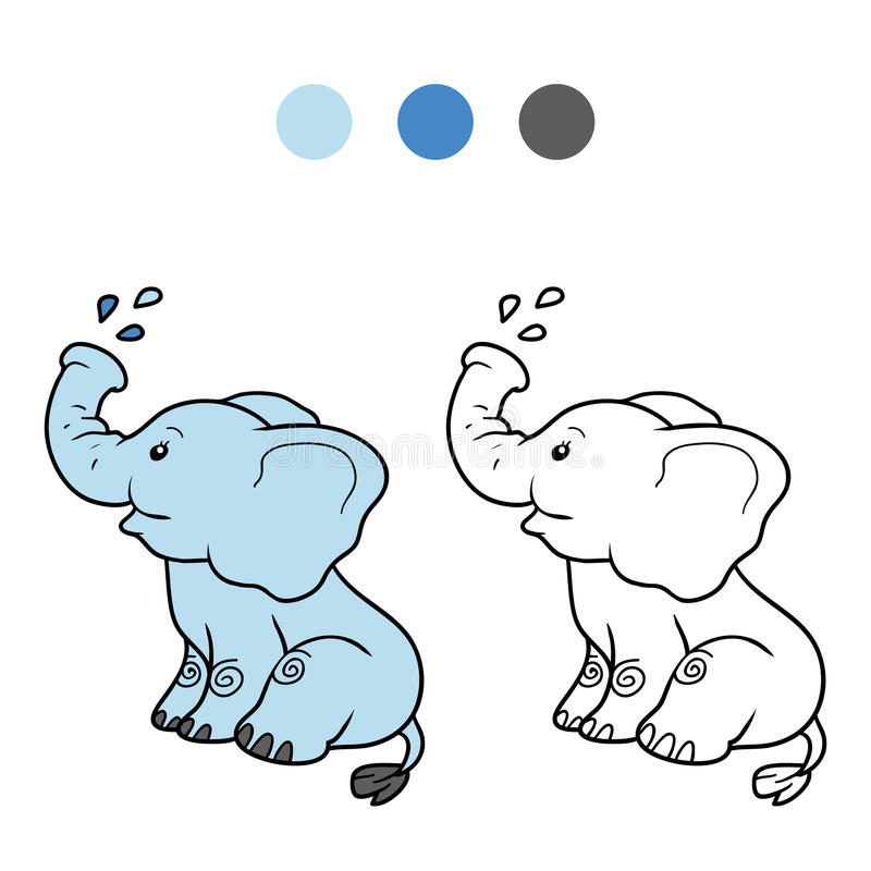 Coloring book for children: elephant. Coloring book for children, education game: elephant royalty free illustration