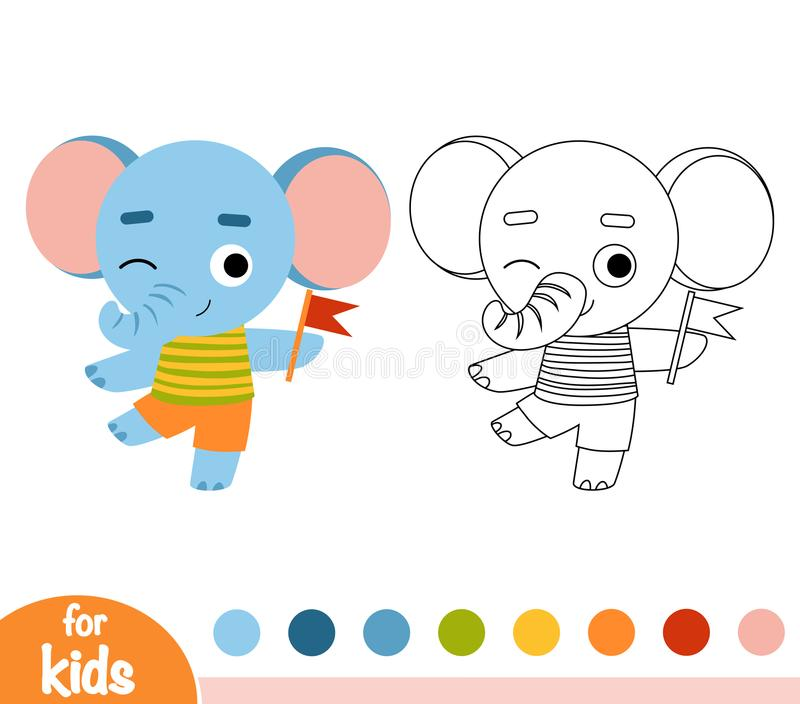 Coloring book, Elephant and a flag. Coloring book for children, Elephant and a flag stock illustration