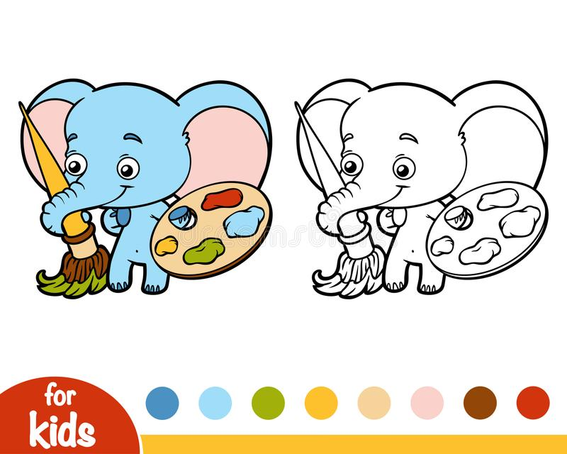 Coloring book, elephant with paints and a brush. Coloring book for children, elephant with paints and a brush stock illustration