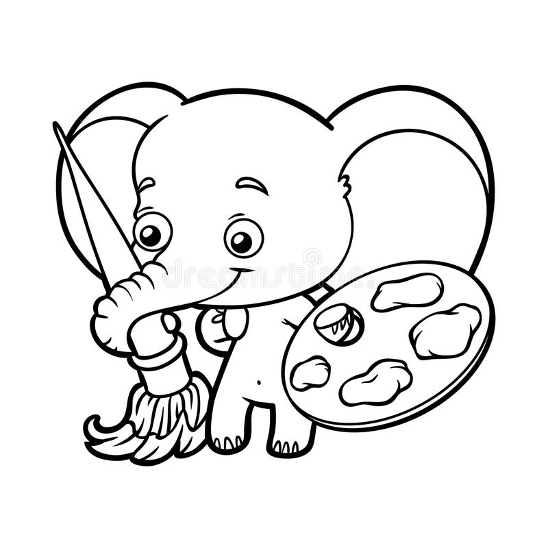 Coloring book, elephant with paints and a brush. Coloring book for children, elephant with paints and a brush vector illustration