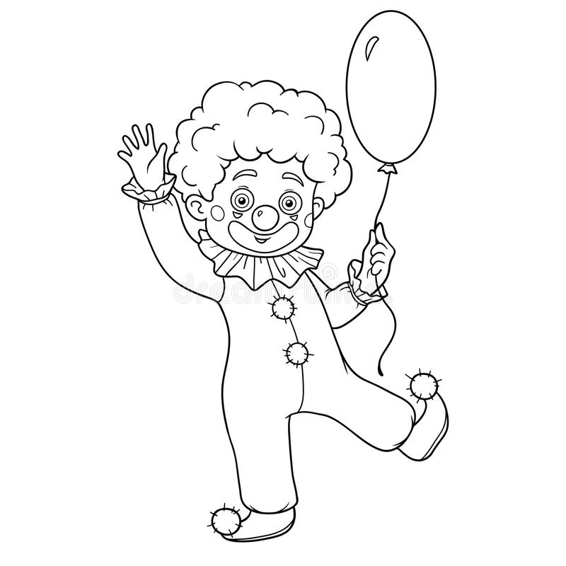Coloring book for children: Halloween characters (clown) vector illustration
