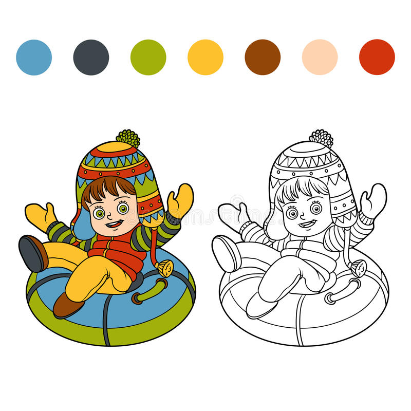 Coloring book for children, girl riding on the tubing vector illustration