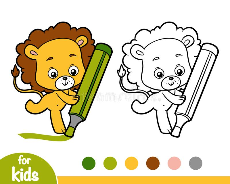 Download Coloring Book Lion And Big Marker Stock Vector