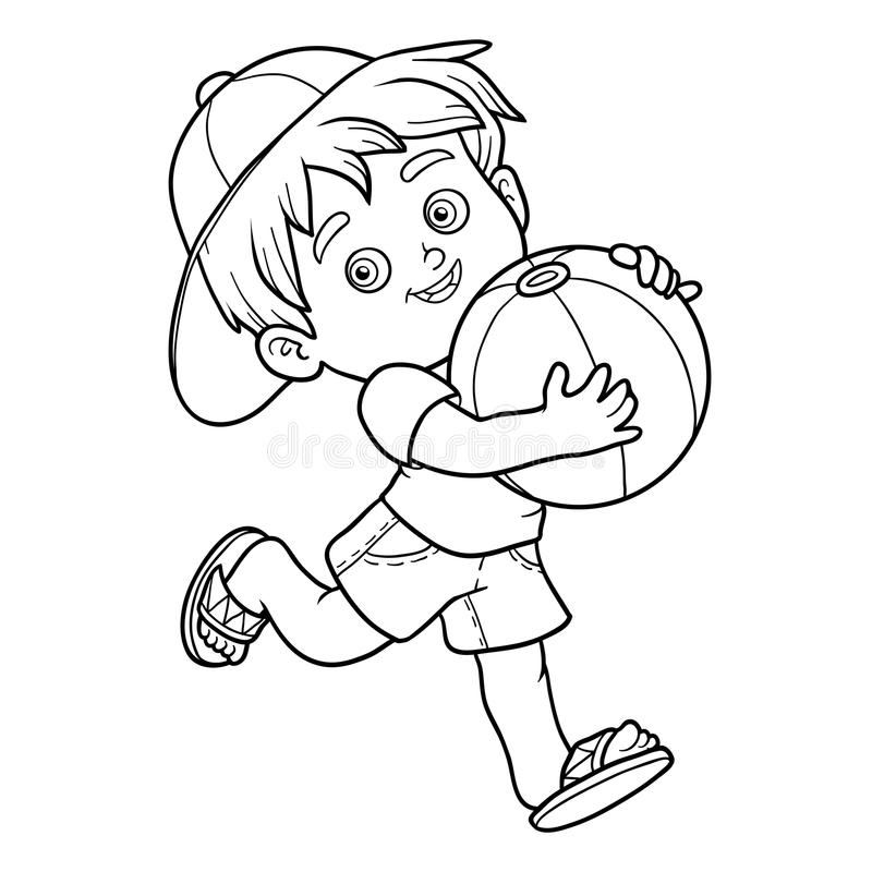 Coloring Book For Children. Little Boy With The Ball Stock Vector ...