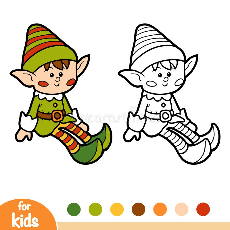 Coloring Book For Children, Elf Stock Vector - Illustration of page ...