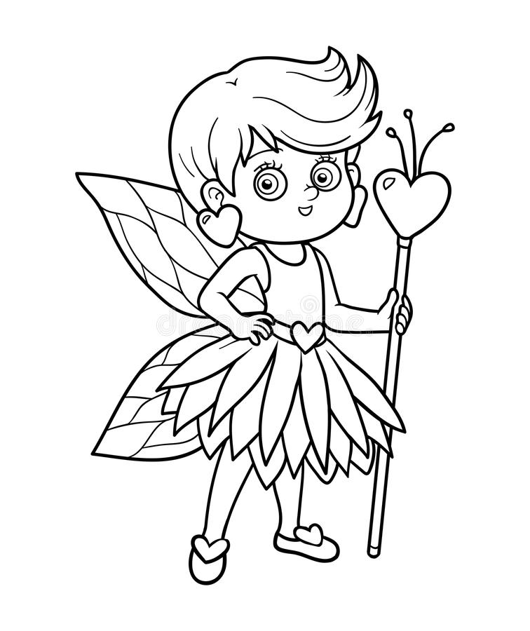 Coloring book for children: little fairy vector illustration