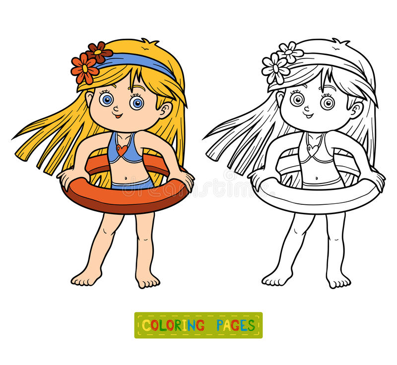 download coloring book for children little girl on the beach stock vector image