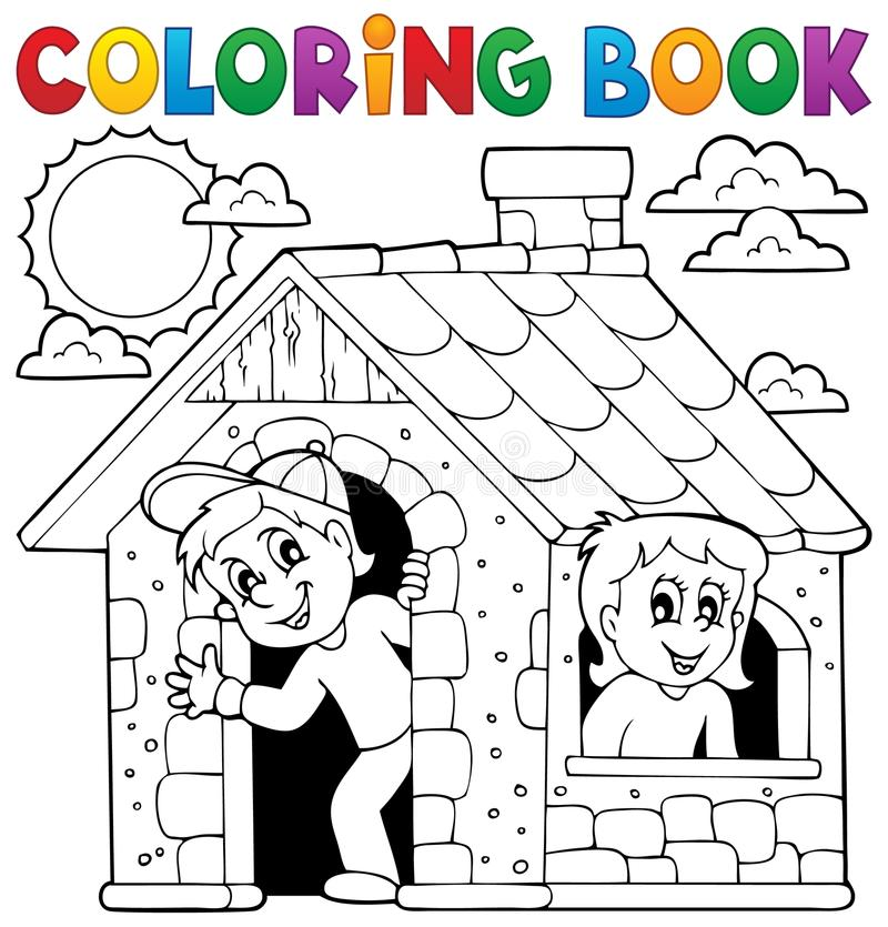 Free Coloring Book Children Playing In House Stock Images - 51067384