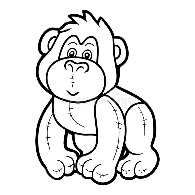 Coloring book, Stuffed toy gorilla vector illustration