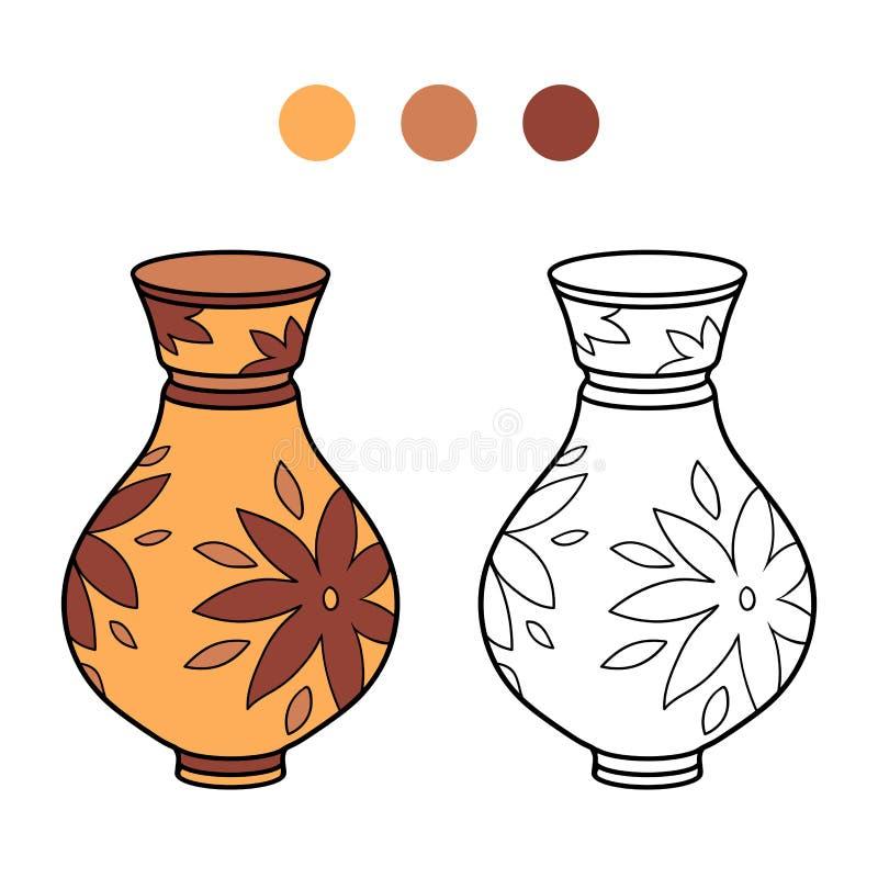 Coloring book for children (vase) vector illustration