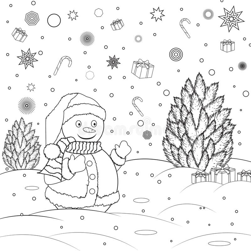 Coloring Christmas Card With Snowman Stock Vector: Coloring Page Outline Of Snowman With Christmas Tree