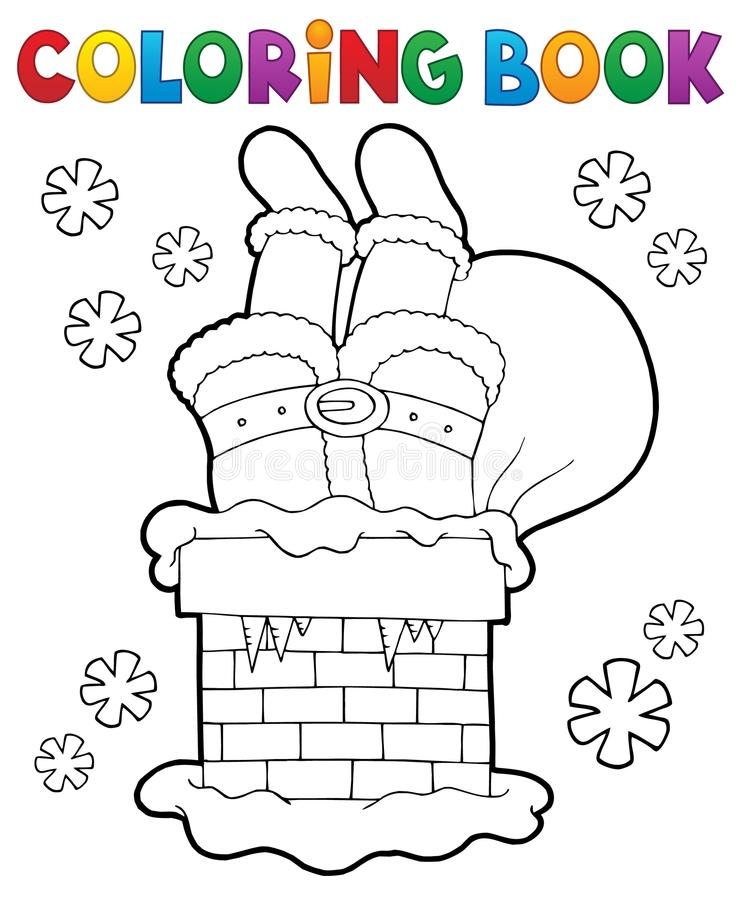 Coloring book chimney with Santa Claus royalty free illustration