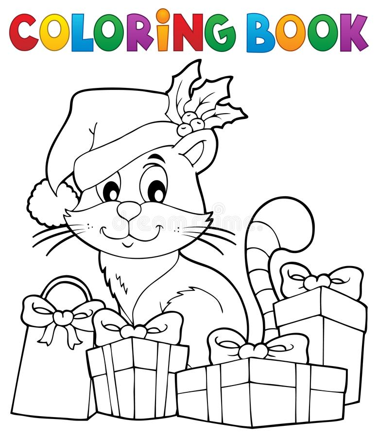 Free Coloring Book Christmas Cat Theme 3 Stock Images - 132625064