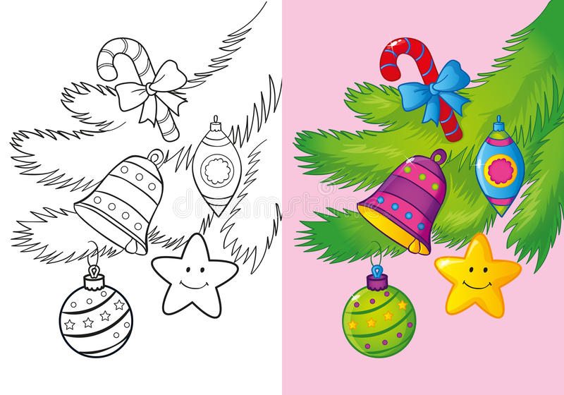 Coloring Book Of Christmas Decoration On The Branch vector illustration