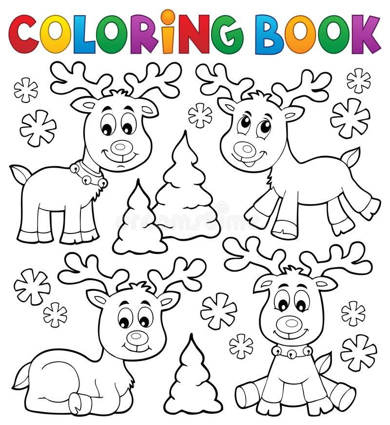 Coloring book Christmas deer topic 1 vector illustration