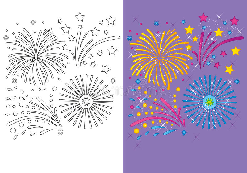 Coloring Book Of Christmas Fireworks. Vector illustration of Christmas fireworks for coloring page for kids royalty free illustration