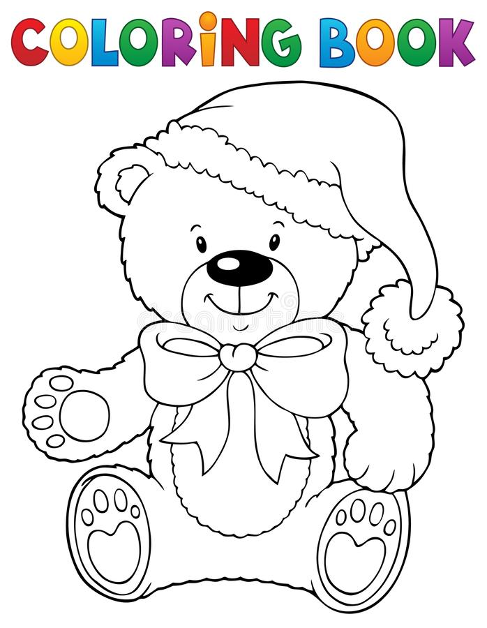 Free Coloring Book Christmas Teddy Bear Topic Stock Photo - 159995150