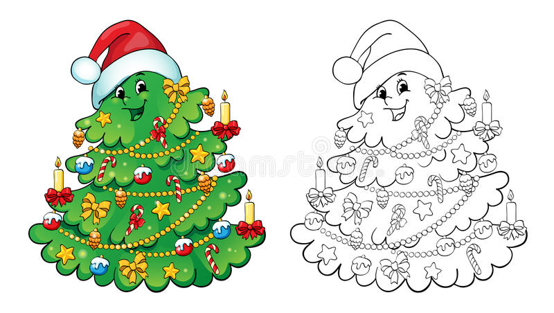 Coloring book. Christmas tree card concept. stock illustration