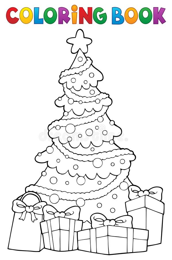 Coloring book Christmas tree and gifts 2 stock illustration