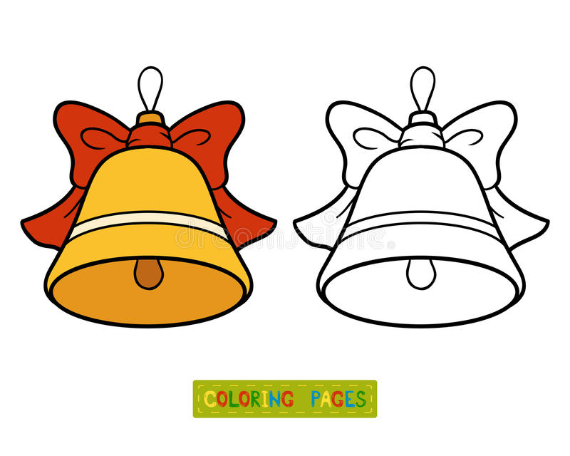 Coloring book, Christmas tree toy, bell stock illustration