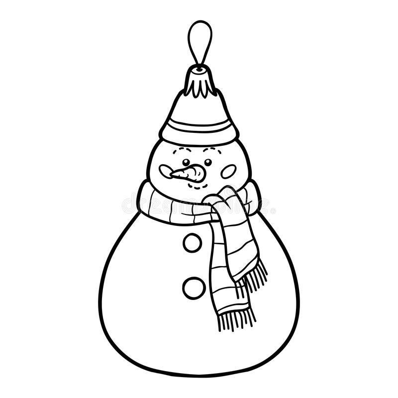 Download Coloring Book Christmas Tree Toy Snowman Stock Vector