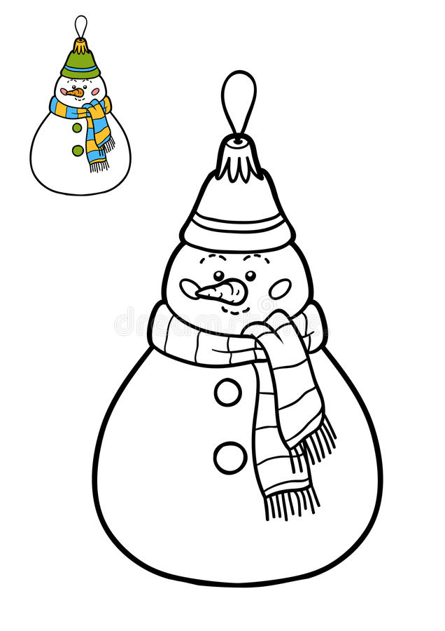 Download Coloring Book Christmas Tree Toy Snowman Stock Illustration