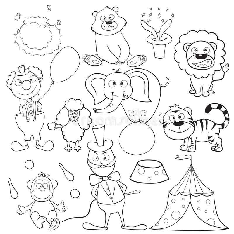 Coloring book with circus elements. Outlined cute cartoon circus elements for coloring book. Vector illustration vector illustration