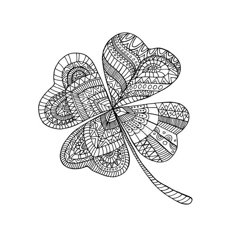 Coloring book clover, on St. Patrick s Day. stock illustration