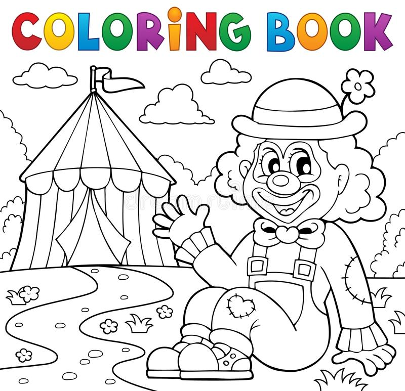 Free Coloring Book Clown Near Circus Theme 2 Stock Images - 70182474