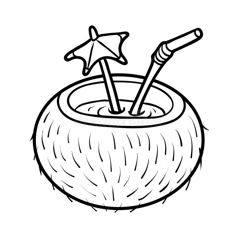 Coloring book, Coconut cocktail with straw. Coloring book for children, Coconut cocktail with straw stock illustration