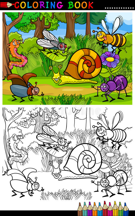 Cartoon insects or bugs for coloring book stock illustration